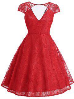 Vestido Vintage De Encaje Con Panel Superpuesto - Rojo 2xl