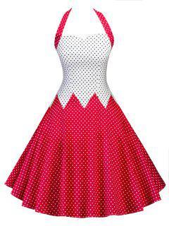 Vintage Halter Polka Dot Color Block Pin Up Dress - Red 2xl
