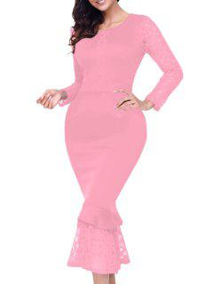 Lace Panel Long Sleeve Midi Mermaid Dress - Pink S