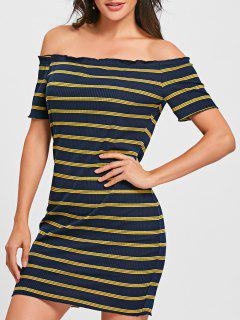 Striped Off The Shoulder Bodycon Mini Dress - Blue And Yellow Xl