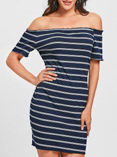 Striped Off The Shoulder Bodycon Mini Dress - Blue And White S