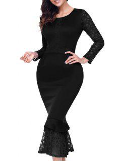 Lace Panel Long Sleeve Midi Mermaid Dress - Black M