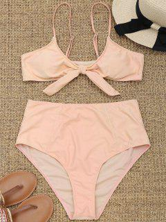 Tied High Waisted Plus Size Bikini - Apricot 3xl