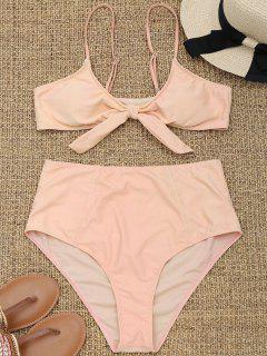 Tied High Waisted Plus Size Bikini - Apricot 2xl