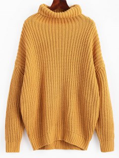 Turtleneck Longline Chunky Sweater - Ginger