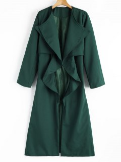 Back Slit Draped Belted Coat - Blackish Green S