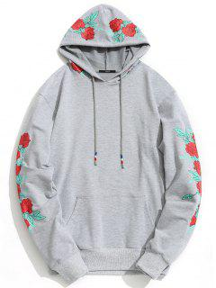 Pullover Floral Print Hoodie Men Clothes - Gray M