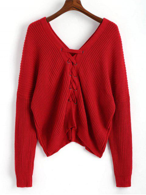 lady V Neckline Back Lace Up Pullover Sweater - RED ONE SIZE Mobile
