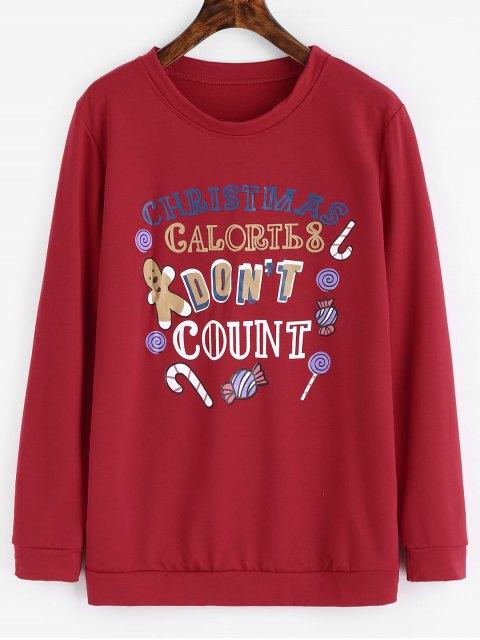 Buchstabe-grafisches WeihnachtsSweatshirt - Rot XL  Mobile
