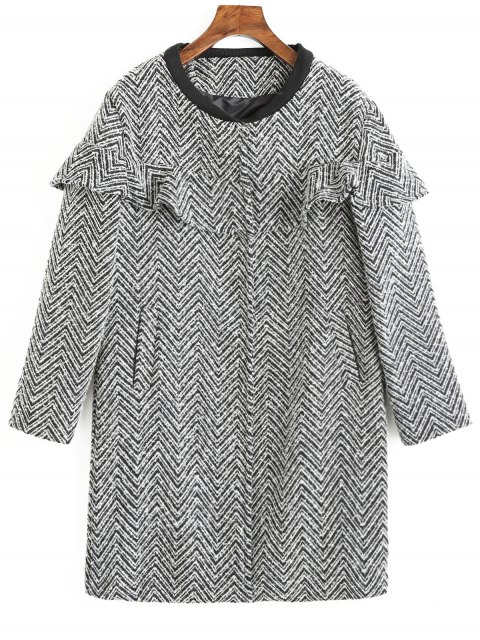 outfit Frilled Zig Zag Tweed Coat - COLORMIX XL Mobile
