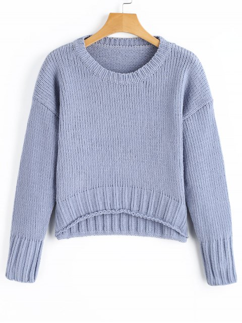 shop Cropped Drop Shoulder Sweater - CLOUDY ONE SIZE Mobile