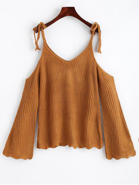 shops Cold Shoulder Flare Sleeve Cami Knitted Top - GINGER ONE SIZE Mobile
