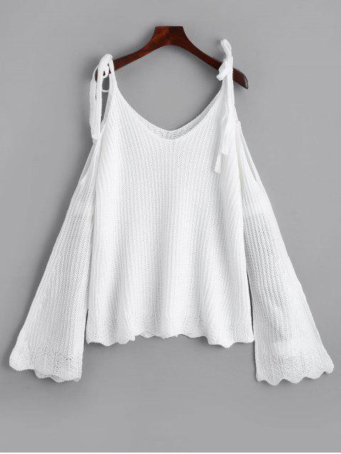 trendy Cold Shoulder Flare Sleeve Cami Knitted Top - WHITE ONE SIZE Mobile