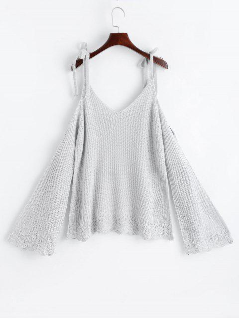 fashion Cold Shoulder Flare Sleeve Cami Knitted Top - LIGHT GRAY ONE SIZE Mobile