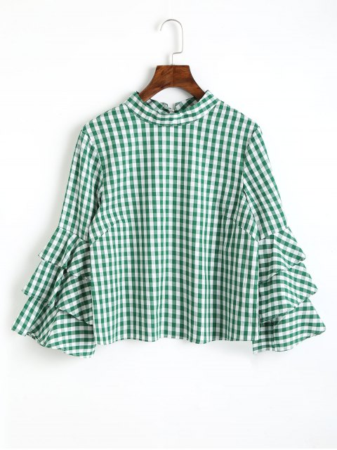 fancy Keyhole Layered Sleeve Checked Blouse - GREEN L Mobile