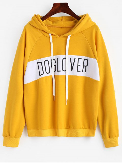 shop Letter Pattern Hoodie - BRIGHT YELLOW S Mobile