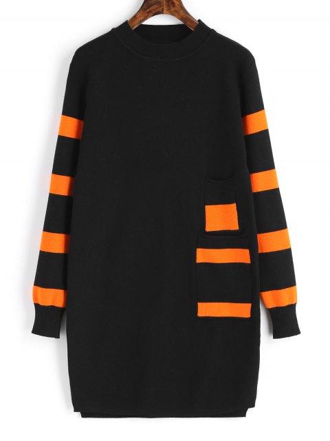 Langarm Streifen Panel Pullover Kleid - Schwarz Eine Größe Mobile
