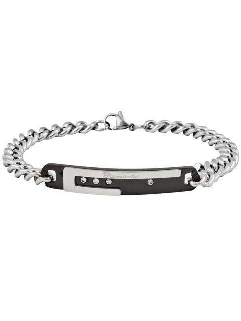 Bracelet pour Couples en Acier de Titane Décoré Inscription Romantic Gravée - Noir  Mobile