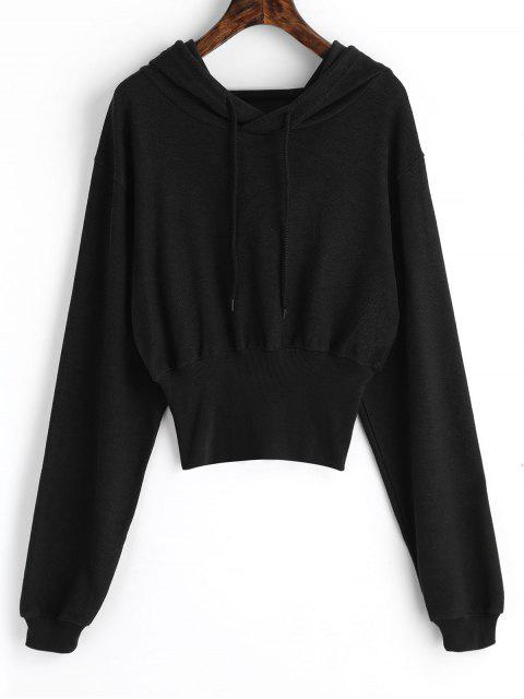 lady Ribbed Trim Textured Hoodie - BLACK L Mobile