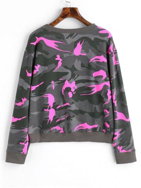 Rundhalsausschnitt Camo Sweatshirt - Fluoreszierendes Rosa M Mobile