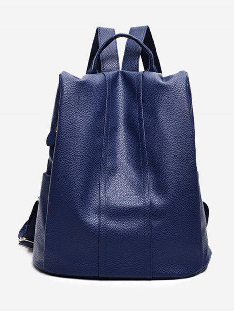 hot Top Handle Faux Leather Backpack - BLUE  Mobile