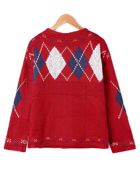 shops Rhombus Pattern Drop Shoulder Sweater - RED ONE SIZE Mobile