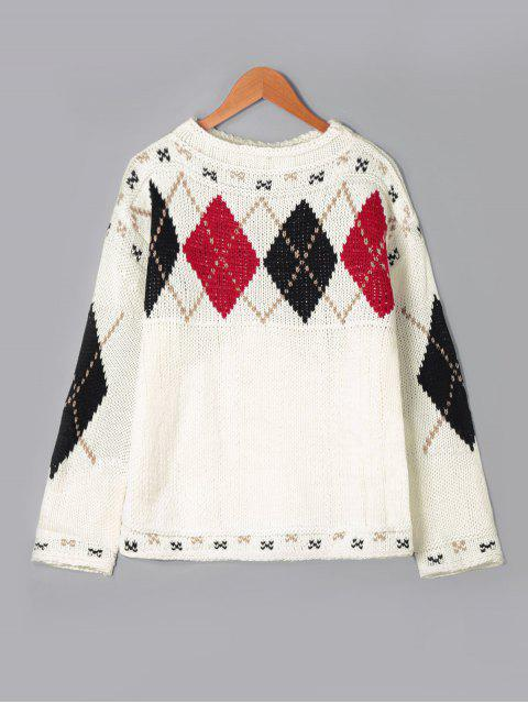 chic Rhombus Pattern Drop Shoulder Sweater - OFF-WHITE ONE SIZE Mobile