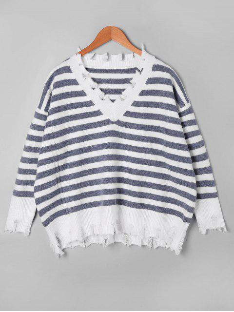 women's Striped Drop Shoulder Ripped Sweater - GREY AND WHITE ONE SIZE Mobile
