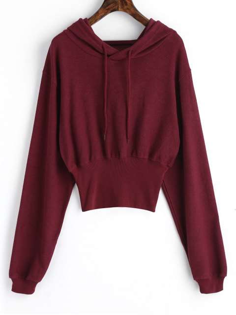 hot Ribbed Trim Textured Hoodie - WINE RED S Mobile