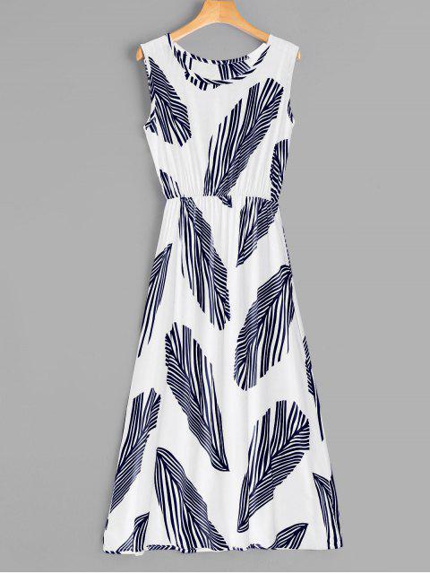 Vestido a media pierna sin mangas con estampado de hojas - Blanco L Mobile
