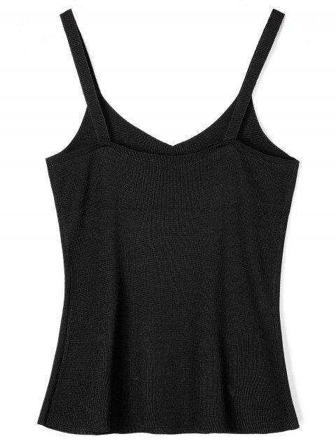 unique Embroidery Knit Tank Top - BLACK ONE SIZE Mobile