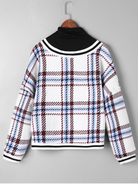 fancy Plaid Contrast Trim Knitwear - WHITE ONE SIZE Mobile