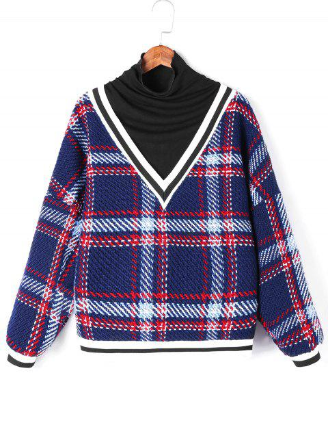 sale Plaid Contrast Trim Knitwear - BLUE ONE SIZE Mobile