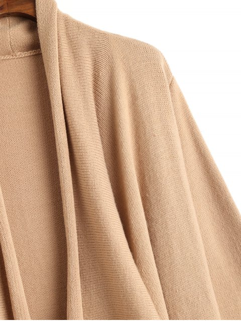 ladies Open Front Waterfall Maxi Cardigan - CAMEL L Mobile