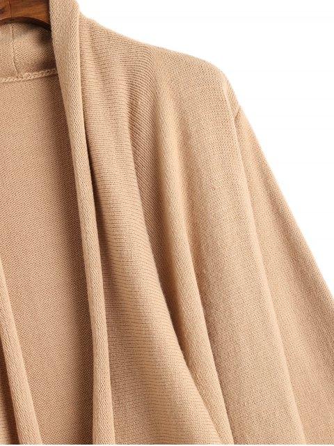 オープンフロントウォーターフォールズマキシカーディガン - 淡褐色 L Mobile