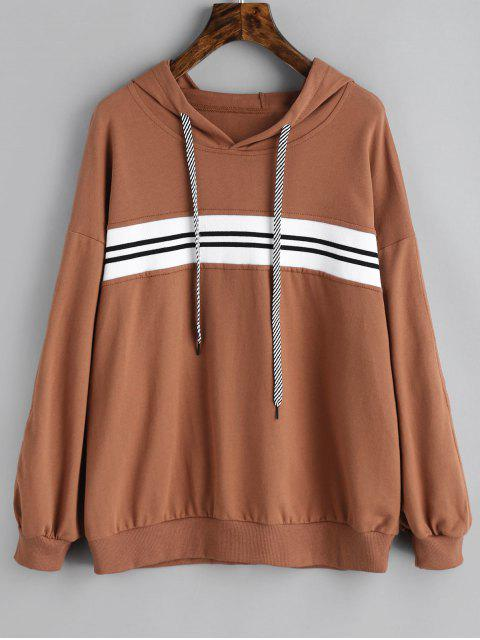 womens Contrast Striped Hoodie - BROWN M Mobile