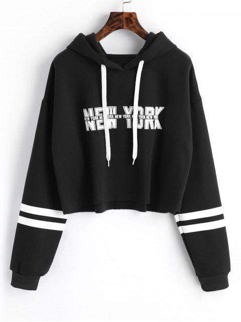 lady New York Graphic Crop Hoodie - BLACK ONE SIZE Mobile