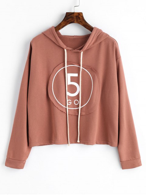 online Letter Patch Hoodie - RUSSET-RED ONE SIZE Mobile
