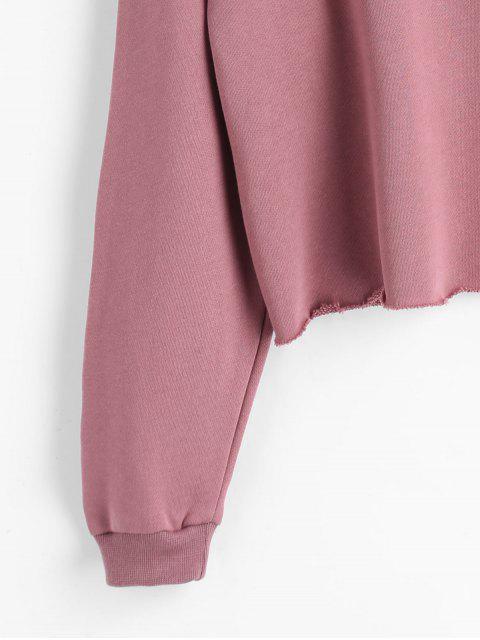 Sudadera con capucha bordada letra del dobladillo crudo - Color de Raíz de Loto   Talla única Mobile