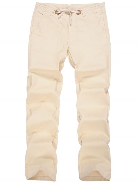 hot Linen Drawstring Pants - APRICOT 3XL Mobile