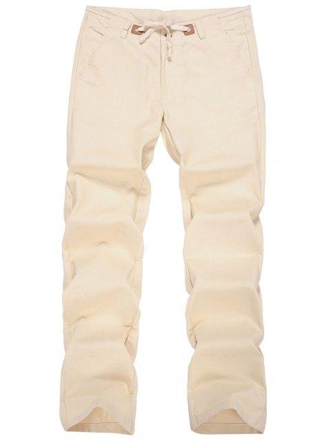 Pantalones con cordón de lino - Albaricoque XL Mobile