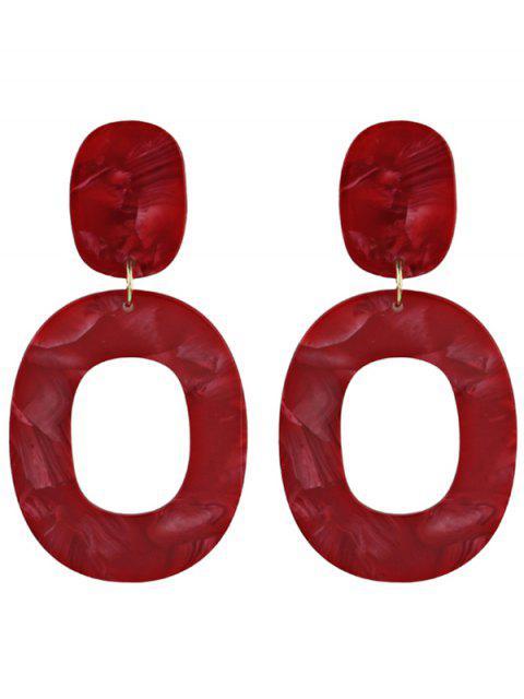shop Resin Oval Geometric Earrings - RED  Mobile