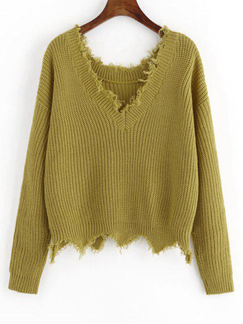 affordable Scalloped V Neck Frayed Sweater - BLUISH YELLOW ONE SIZE Mobile