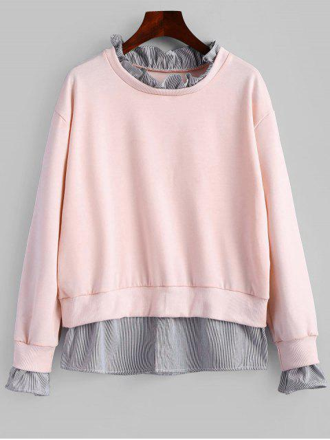 shops Ruffle Neck Striped Sweatshirt - PINK XL Mobile