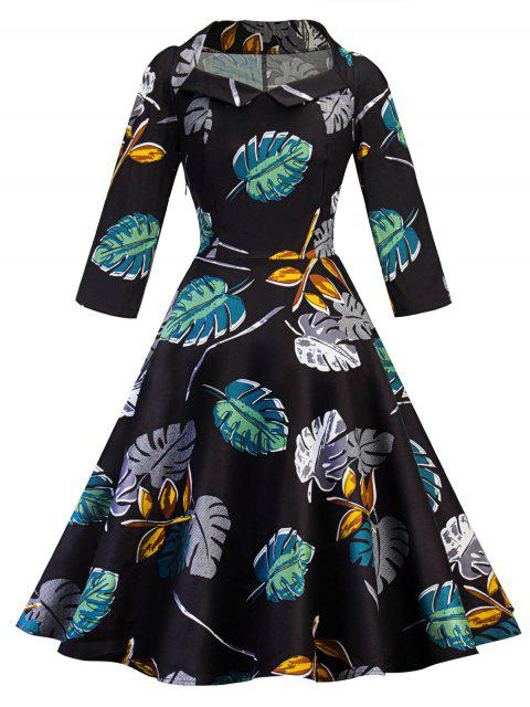 chic Vintage Leaves Print Skater Pin Up Dress -   Mobile