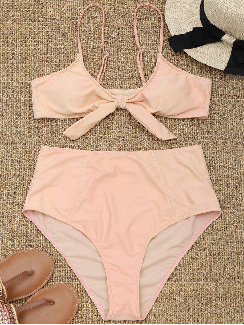 hot Tied High Waisted Plus Size Bikini - APRICOT 3XL Mobile