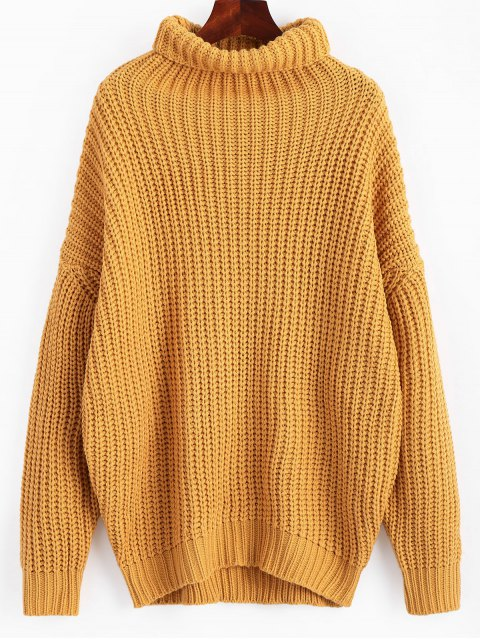 sale Turtleneck Longline Chunky Sweater - GINGER ONE SIZE Mobile