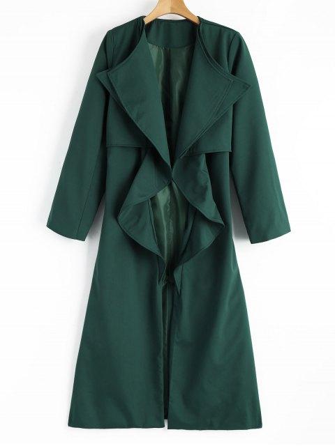 Manteau Ceinturé Drapé avec Fente en Arrière - vert foncé L Mobile