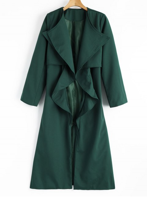 Manteau Ceinturé Drapé avec Fente en Arrière - vert foncé XL Mobile