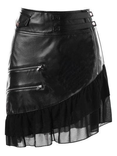Zaful Flounce Panel Zipper Faux Leather Skirt